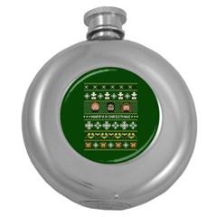 Merry Nerdmas! Ugly Christma Green Background Round Hip Flask (5 oz)
