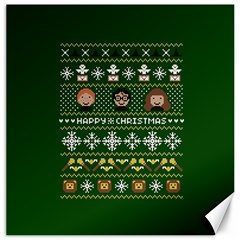Merry Nerdmas! Ugly Christma Green Background Canvas 12  x 12
