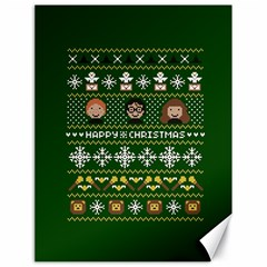 Merry Nerdmas! Ugly Christma Green Background Canvas 18  x 24