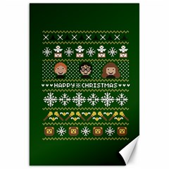 Merry Nerdmas! Ugly Christma Green Background Canvas 20  x 30