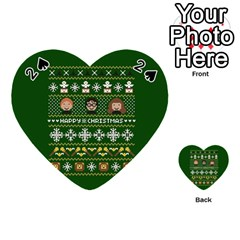 Merry Nerdmas! Ugly Christma Green Background Playing Cards 54 (heart)