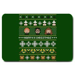Merry Nerdmas! Ugly Christma Green Background Large Doormat
