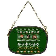 Merry Nerdmas! Ugly Christma Green Background Chain Purses (Two Sides)