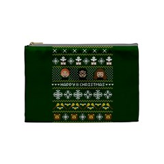 Merry Nerdmas! Ugly Christma Green Background Cosmetic Bag (medium)