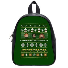 Merry Nerdmas! Ugly Christma Green Background School Bags (Small)