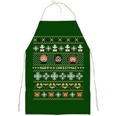 Merry Nerdmas! Ugly Christma Green Background Full Print Aprons