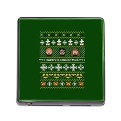 Merry Nerdmas! Ugly Christma Green Background Memory Card Reader (square)