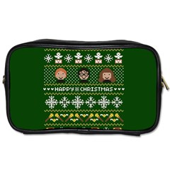 Merry Nerdmas! Ugly Christma Green Background Toiletries Bags
