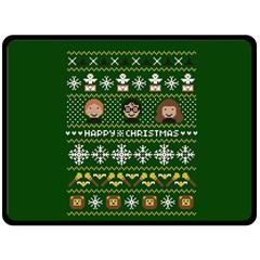 Merry Nerdmas! Ugly Christma Green Background Fleece Blanket (Large)
