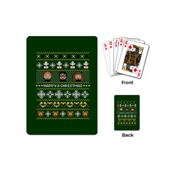 Merry Nerdmas! Ugly Christma Green Background Playing Cards (mini)