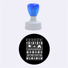 Merry Nerdmas! Ugly Christma Green Background Rubber Round Stamps (Medium)