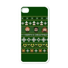 Merry Nerdmas! Ugly Christma Green Background Apple iPhone 4 Case (White)