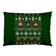 Merry Nerdmas! Ugly Christma Green Background Pillow Case (Two Sides)