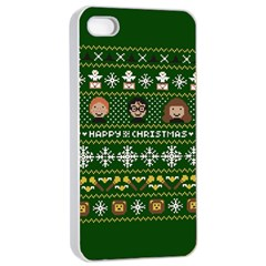 Merry Nerdmas! Ugly Christma Green Background Apple Iphone 4/4s Seamless Case (white)