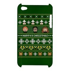 Merry Nerdmas! Ugly Christma Green Background Apple iPod Touch 4