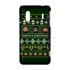 Merry Nerdmas! Ugly Christma Green Background HTC Evo Design 4G/ Hero S Hardshell Case