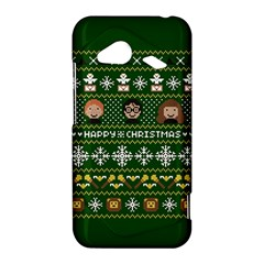 Merry Nerdmas! Ugly Christma Green Background HTC Droid Incredible 4G LTE Hardshell Case