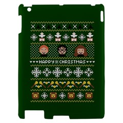 Merry Nerdmas! Ugly Christma Green Background Apple iPad 2 Hardshell Case