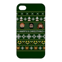 Merry Nerdmas! Ugly Christma Green Background Apple iPhone 4/4S Premium Hardshell Case