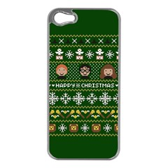 Merry Nerdmas! Ugly Christma Green Background Apple Iphone 5 Case (silver)