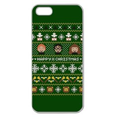 Merry Nerdmas! Ugly Christma Green Background Apple Seamless iPhone 5 Case (Clear)