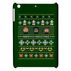 Merry Nerdmas! Ugly Christma Green Background Apple iPad Mini Hardshell Case