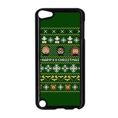 Merry Nerdmas! Ugly Christma Green Background Apple iPod Touch 5 Case (Black)