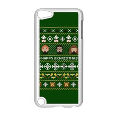 Merry Nerdmas! Ugly Christma Green Background Apple iPod Touch 5 Case (White)