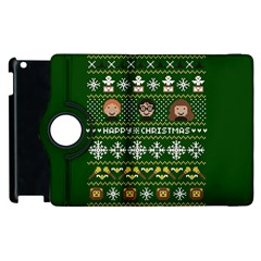 Merry Nerdmas! Ugly Christma Green Background Apple iPad 2 Flip 360 Case