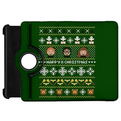 Merry Nerdmas! Ugly Christma Green Background Kindle Fire HD Flip 360 Case