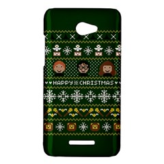 Merry Nerdmas! Ugly Christma Green Background HTC Butterfly X920E Hardshell Case