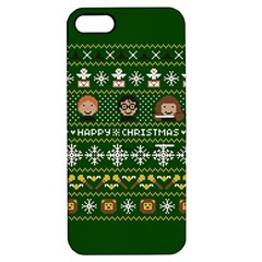 Merry Nerdmas! Ugly Christma Green Background Apple iPhone 5 Hardshell Case with Stand