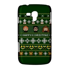 Merry Nerdmas! Ugly Christma Green Background Samsung Galaxy Duos I8262 Hardshell Case
