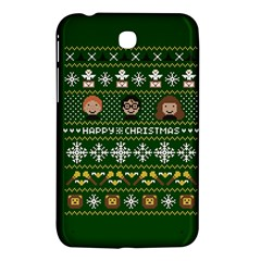 Merry Nerdmas! Ugly Christma Green Background Samsung Galaxy Tab 3 (7 ) P3200 Hardshell Case