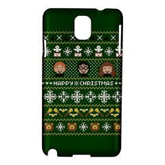 Merry Nerdmas! Ugly Christma Green Background Samsung Galaxy Note 3 N9005 Hardshell Case