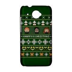 Merry Nerdmas! Ugly Christma Green Background HTC Desire 601 Hardshell Case