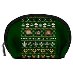 Merry Nerdmas! Ugly Christma Green Background Accessory Pouches (Large)