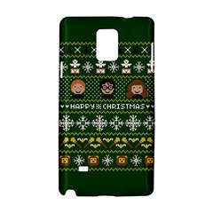 Merry Nerdmas! Ugly Christma Green Background Samsung Galaxy Note 4 Hardshell Case
