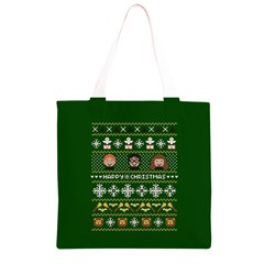 Merry Nerdmas! Ugly Christma Green Background Grocery Light Tote Bag