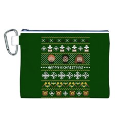 Merry Nerdmas! Ugly Christma Green Background Canvas Cosmetic Bag (L)