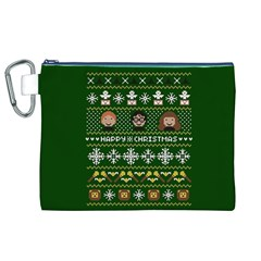 Merry Nerdmas! Ugly Christma Green Background Canvas Cosmetic Bag (XL)