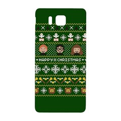 Merry Nerdmas! Ugly Christma Green Background Samsung Galaxy Alpha Hardshell Back Case