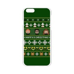 Merry Nerdmas! Ugly Christma Green Background Apple Seamless iPhone 6/6S Case (Transparent)