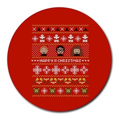 Merry Nerdmas! Ugly Christma Red Background Round Mousepads