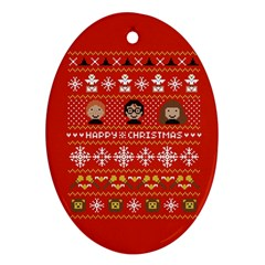 Merry Nerdmas! Ugly Christma Red Background Ornament (Oval)