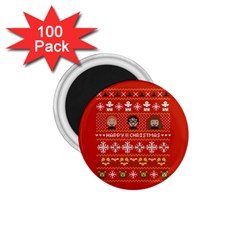 Merry Nerdmas! Ugly Christma Red Background 1.75  Magnets (100 pack)