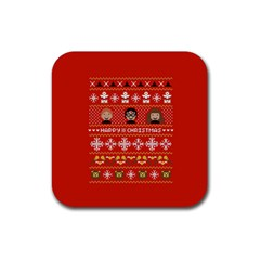 Merry Nerdmas! Ugly Christma Red Background Rubber Square Coaster (4 pack)