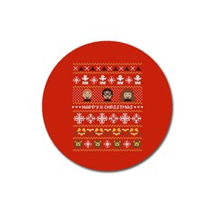 Merry Nerdmas! Ugly Christma Red Background Magnet 3  (Round)