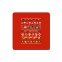 Merry Nerdmas! Ugly Christma Red Background Square Magnet