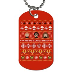 Merry Nerdmas! Ugly Christma Red Background Dog Tag (One Side)